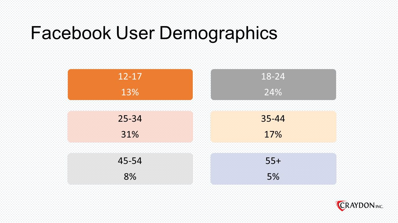 Facebook User Demographics 12-17 13% 25-34 31% 45-54 8% 18-24 24% 35-44 17% 55+ 5%