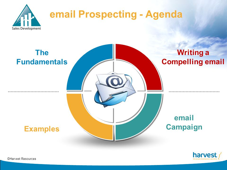 ©Harvest Resources email Prospecting - Agenda Writing a Compelling email email Campaign Examples The Fundamentals