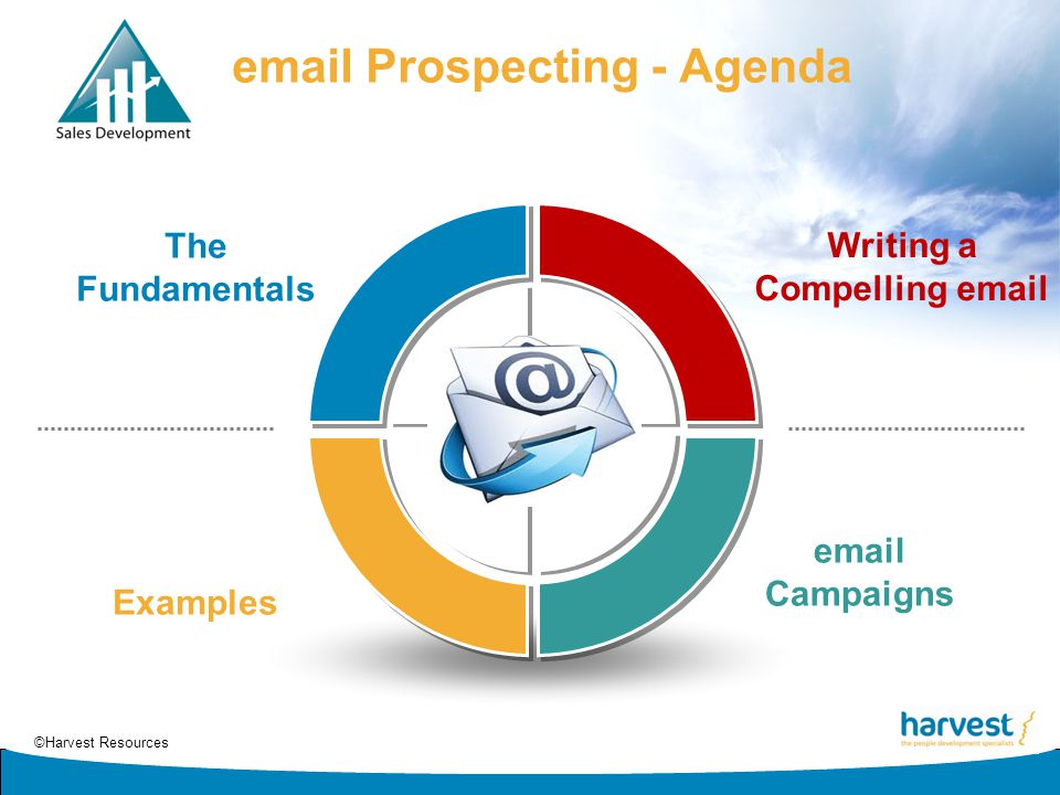 ©Harvest Resources email Prospecting - Agenda Writing a Compelling email email Campaigns Examples The Fundamentals