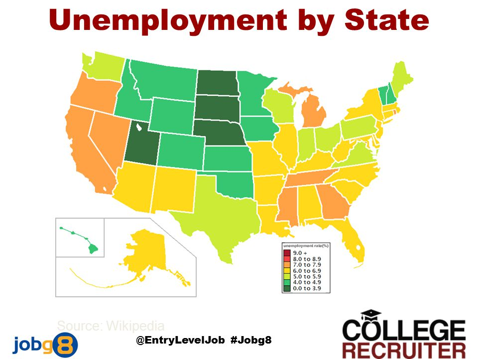 Source: Wikipedia @EntryLevelJob #Jobg8 Unemployment by State