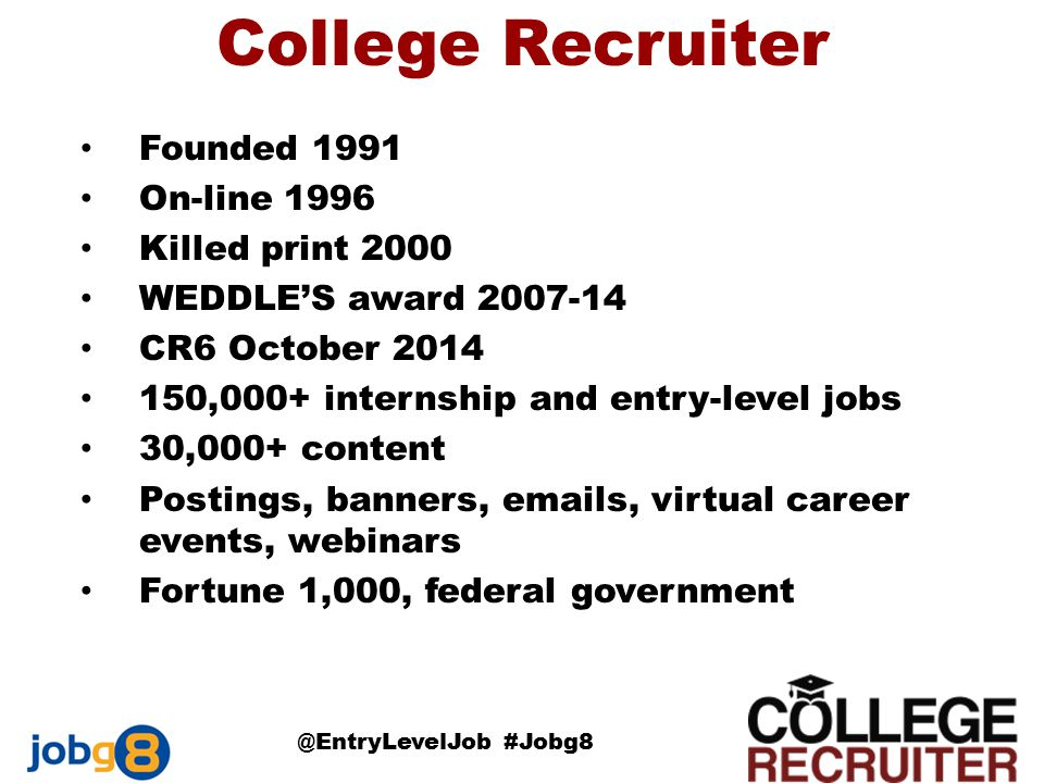 College Recruiter Founded 1991 On-line 1996 Killed print 2000 WEDDLE'S award 2007-14 CR6 October 2014 150,000+ internship and entry-level jobs 30,000+ content Postings, banners, emails, virtual career events, webinars Fortune 1,000, federal government @EntryLevelJob #Jobg8