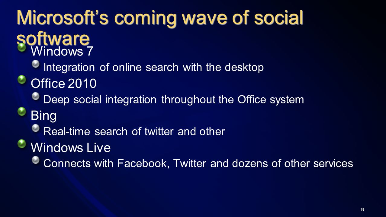 19 Microsoft's coming wave of social software Windows 7 Integration of online search with the desktop Office 2010 Deep social integration throughout the Office system Bing Real-time search of twitter and other Windows Live Connects with Facebook, Twitter and dozens of other services 19