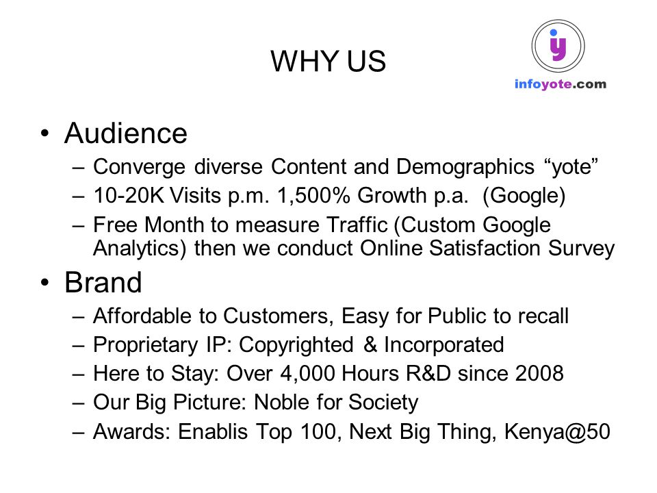 "WHY US Audience –Converge diverse Content and Demographics ""yote"" –10-20K Visits p.m. 1,500% Growth p.a. (Google) –Free Month to measure Traffic (Cust"