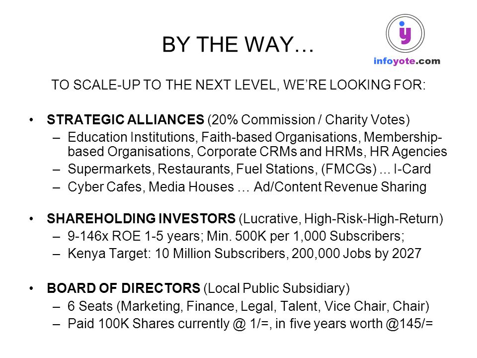 BY THE WAY… TO SCALE-UP TO THE NEXT LEVEL, WE'RE LOOKING FOR: STRATEGIC ALLIANCES (20% Commission / Charity Votes) –Education Institutions, Faith-base