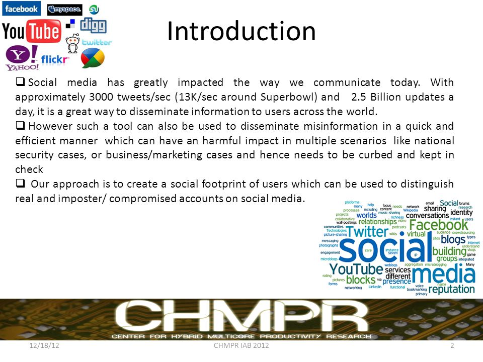 Introduction 12/18/12CHMPR IAB 20122  Social media has greatly impacted the way we communicate today.