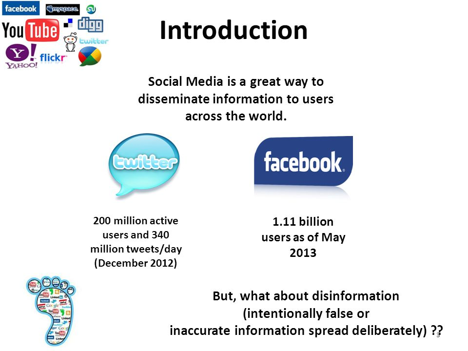 Introduction Social Media is a great way to disseminate information to users across the world.
