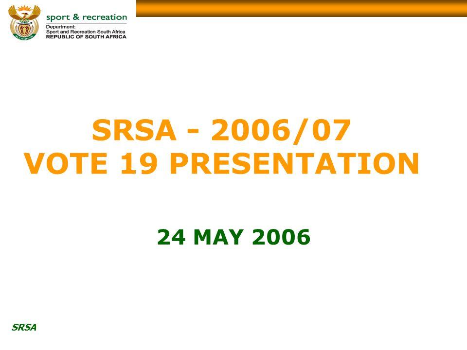 SRSA SRSA - 2006/07 VOTE 19 PRESENTATION 24 MAY 2006