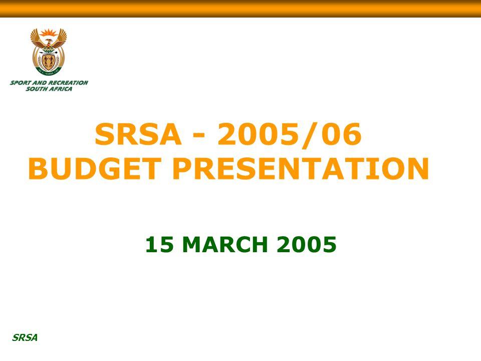 SRSA SRSA - 2005/06 BUDGET PRESENTATION 15 MARCH 2005