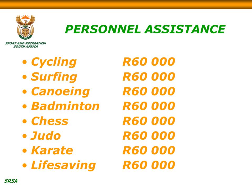 SRSA PERSONNEL ASSISTANCE CyclingR SurfingR CanoeingR BadmintonR ChessR JudoR KarateR LifesavingR60 000