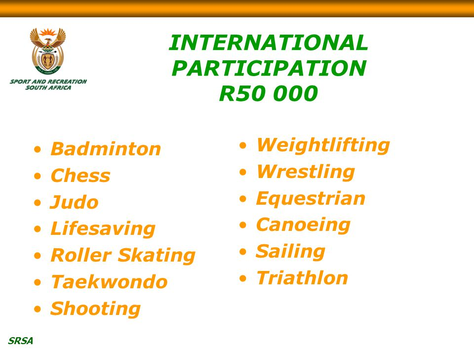 SRSA INTERNATIONAL PARTICIPATION R Badminton Chess Judo Lifesaving Roller Skating Taekwondo Shooting Weightlifting Wrestling Equestrian Canoeing Sailing Triathlon