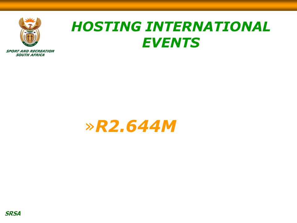 SRSA HOSTING INTERNATIONAL EVENTS »R2.644M