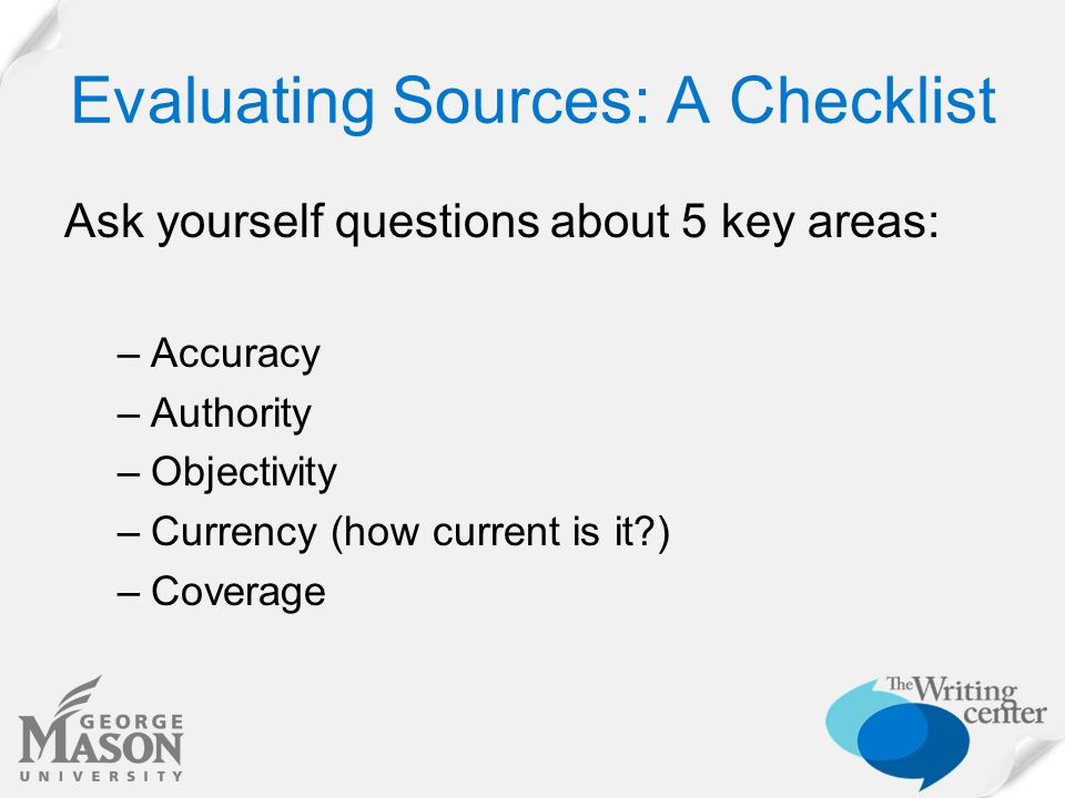 Evaluation Practice: Try out the checklist with the following web sites Searching for info on ALD: http://www.aldfoundation.org/ald_info.html