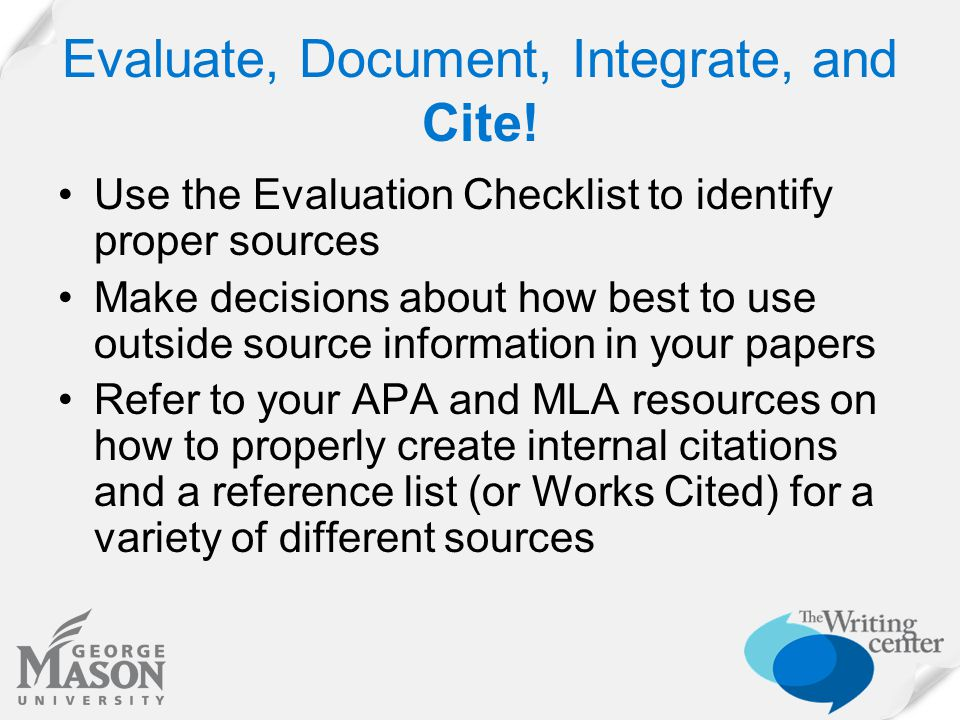 Evaluate, Document, Integrate, and Cite.
