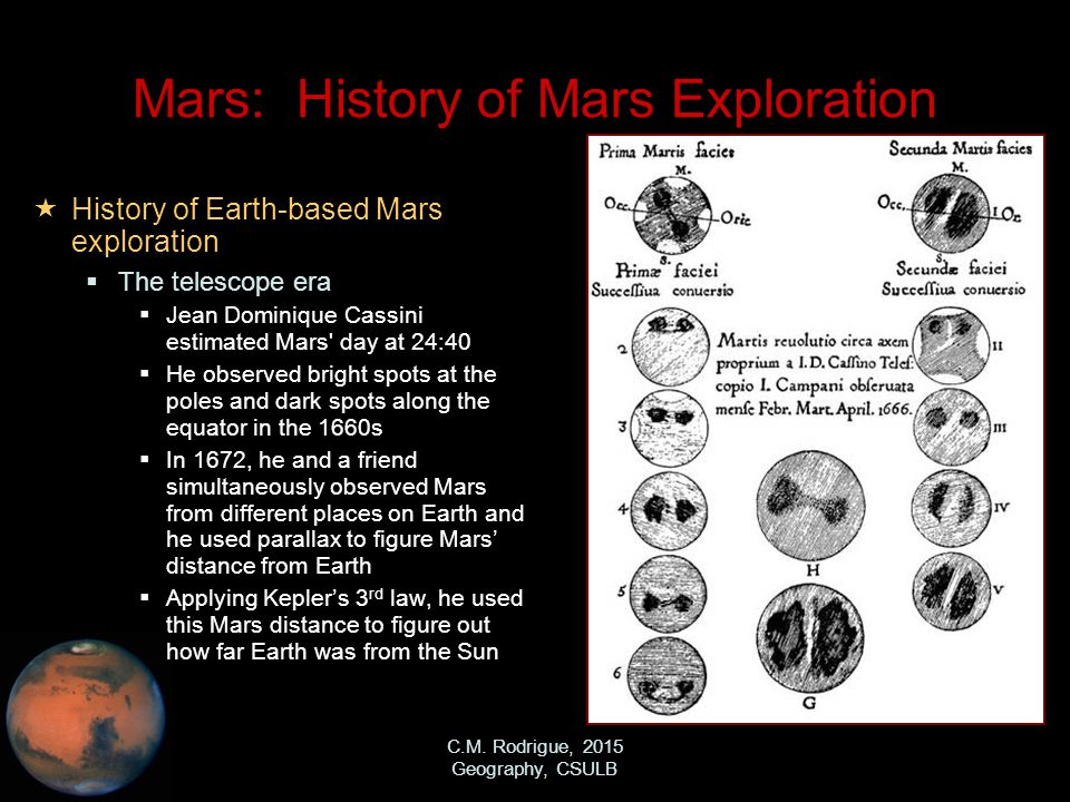 C.M. Rodrigue, 2015 Geography, CSULB Mars: History of Mars Exploration  History of Earth-based Mars exploration  The telescope era  Jean Dominique