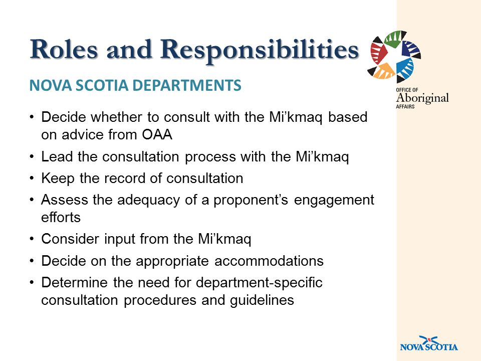 NOVA SCOTIA DEPARTMENTS Decide whether to consult with the Mi'kmaq based on advice from OAA Lead the consultation process with the Mi'kmaq Keep the re