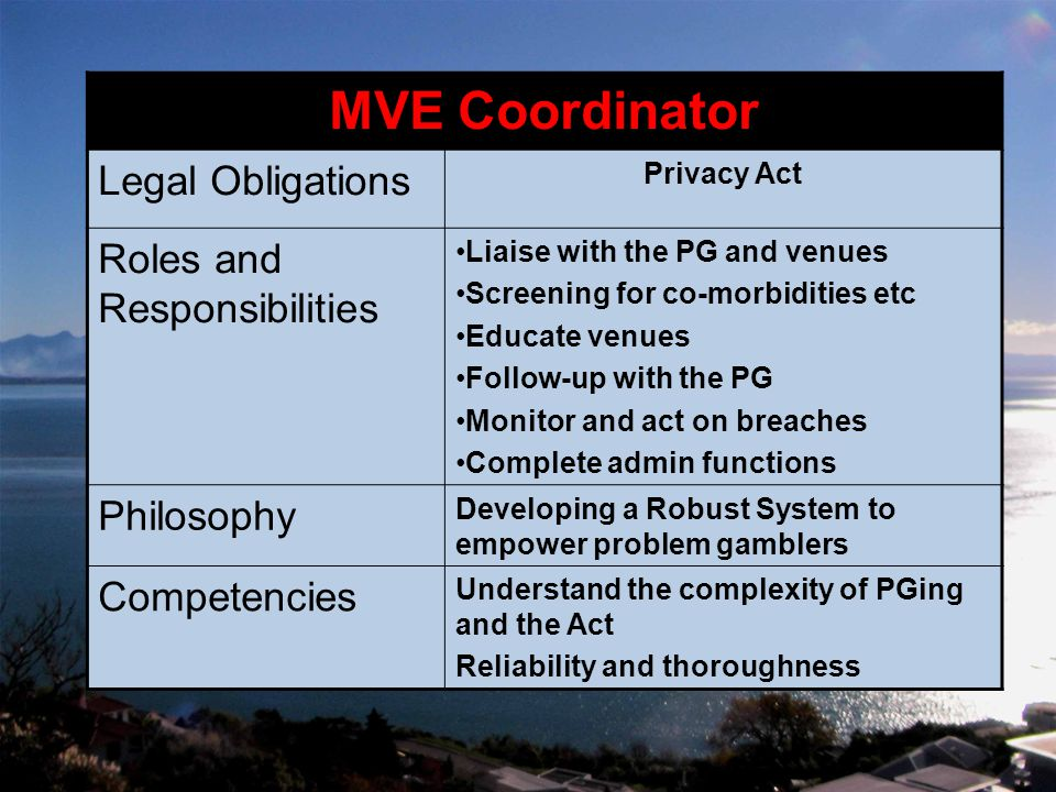 MVE Coordinator Legal Obligations Privacy Act Roles and Responsibilities Liaise with the PG and venues Screening for co-morbidities etc Educate venues