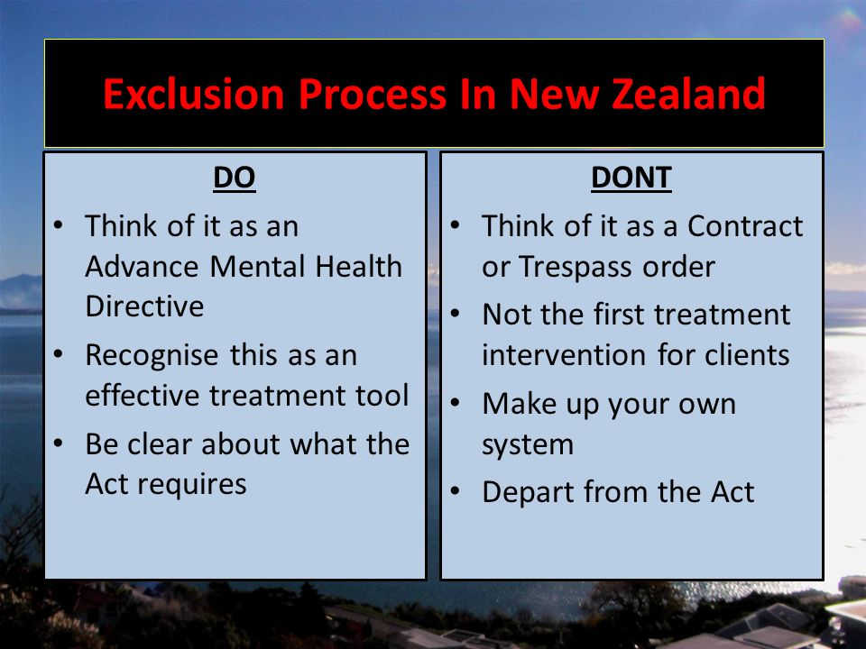 MVE in Nelson Initially First exclusion in 2003.2 year ban period.