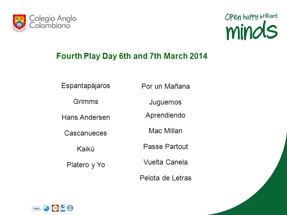 Fourth Play Day 6th and 7th March 2014 Espantapájaros Grimms Hans Andersen Cascanueces Kaikú Platero y Yo Por un Mañana Juguemos Aprendiendo Mac Milla