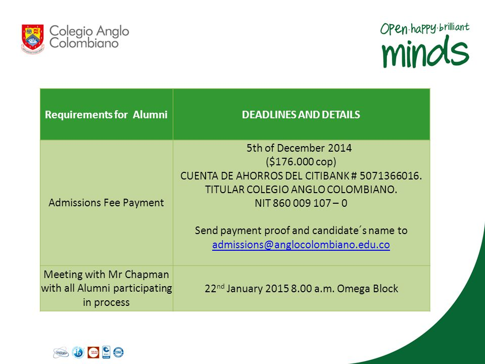 Requirements for AlumniDEADLINES AND DETAILS Admissions Fee Payment 5th of December 2014 ($176.000 cop) CUENTA DE AHORROS DEL CITIBANK # 5071366016. T