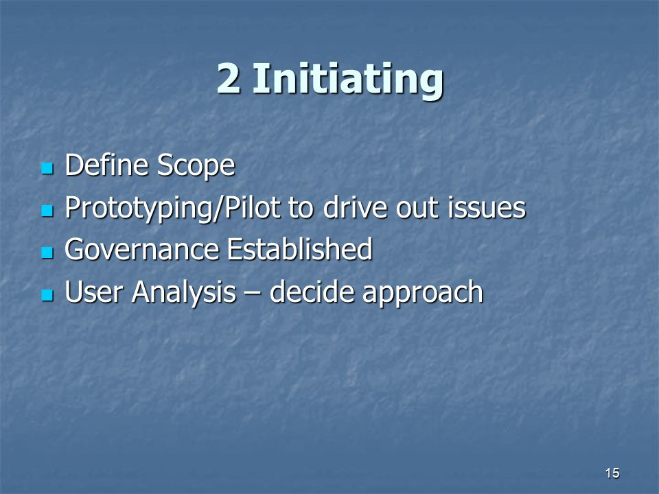 15 2 Initiating Define Scope Define Scope Prototyping/Pilot to drive out issues Prototyping/Pilot to drive out issues Governance Established Governanc