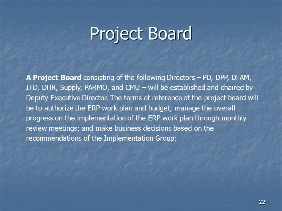 22 Project Board A Project Board consisting of the following Directors – PD, DPP, DFAM, ITD, DHR, Supply, PARMO, and CMU – will be established and cha