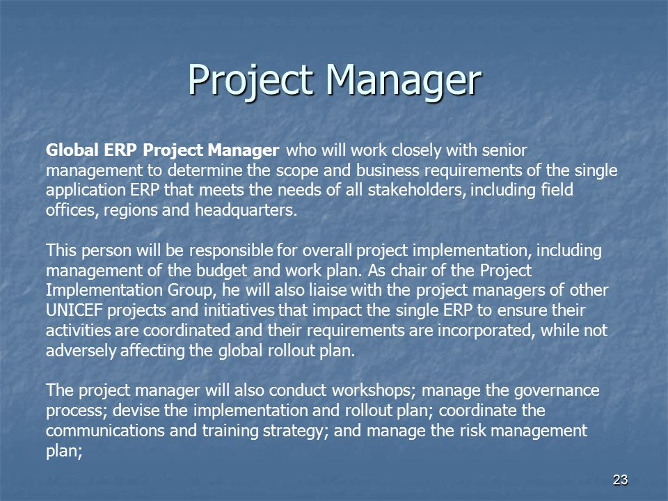 23 Project Manager Global ERP Project Manager who will work closely with senior management to determine the scope and business requirements of the sin