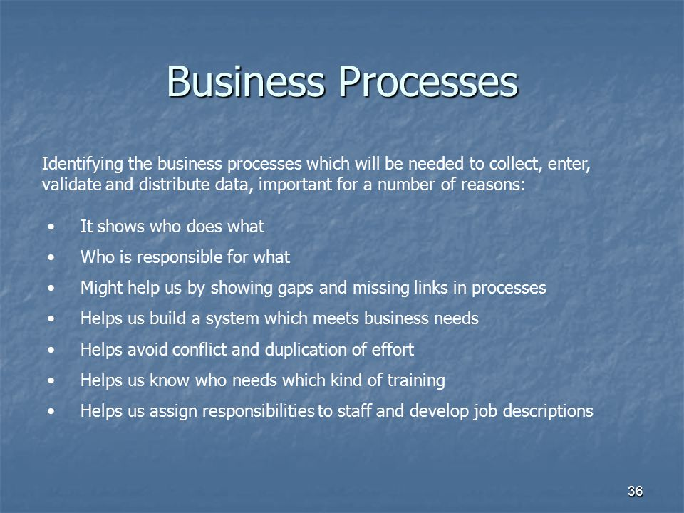 36 Business Processes It shows who does what Who is responsible for what Might help us by showing gaps and missing links in processes Helps us build a