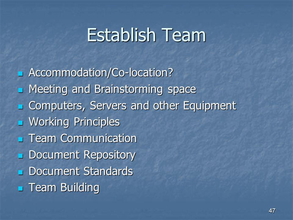 47 Establish Team Accommodation/Co-location? Accommodation/Co-location? Meeting and Brainstorming space Meeting and Brainstorming space Computers, Ser