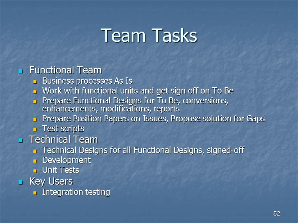 52 Team Tasks Functional Team Functional Team Business processes As Is Business processes As Is Work with functional units and get sign off on To Be W