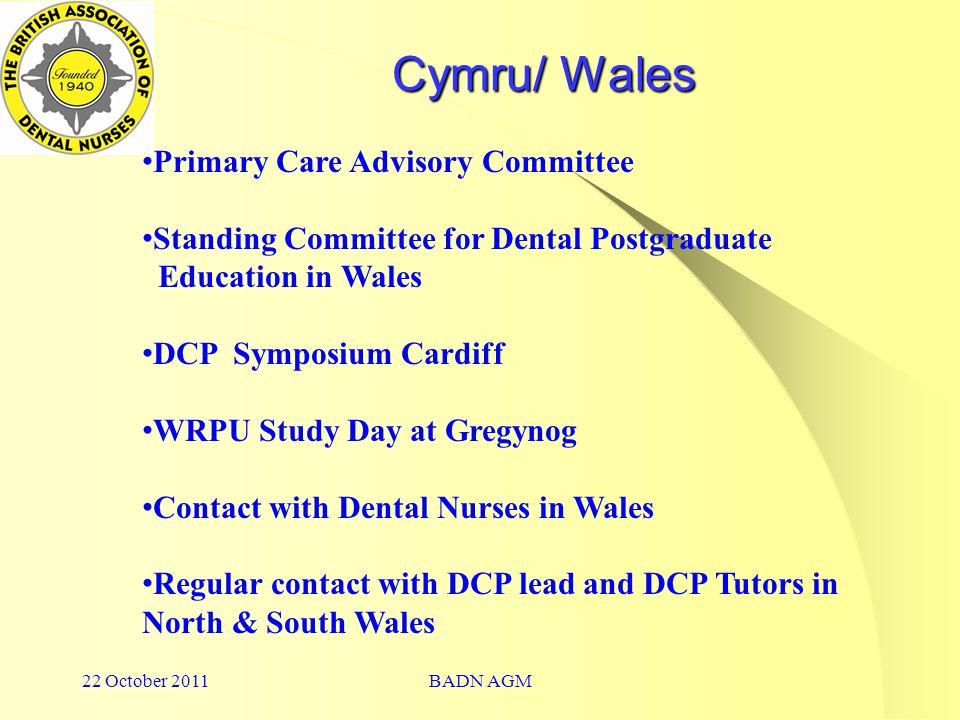 22 October 2011BADN AGM Cymru/ Wales Primary Care Advisory Committee Standing Committee for Dental Postgraduate Education in Wales DCP Symposium Cardiff WRPU Study Day at Gregynog Contact with Dental Nurses in Wales Regular contact with DCP lead and DCP Tutors in North & South Wales