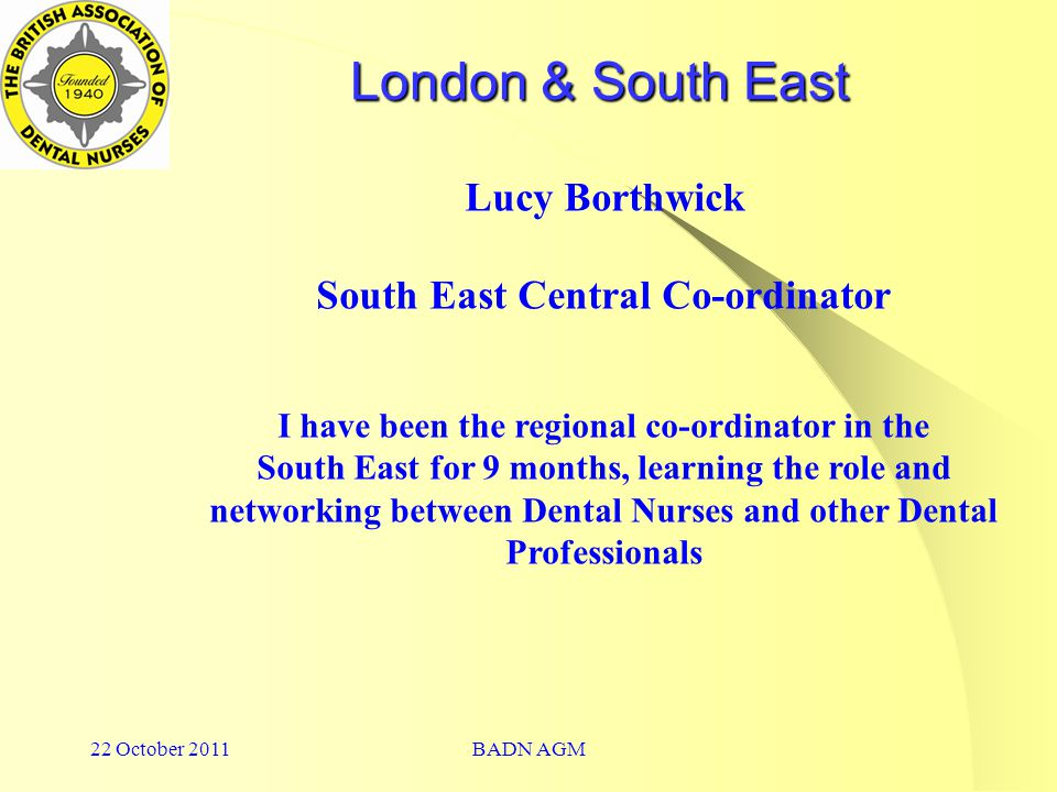 22 October 2011BADN AGM London & South East Lucy Borthwick South East Central Co-ordinator I have been the regional co-ordinator in the South East for 9 months, learning the role and networking between Dental Nurses and other Dental Professionals