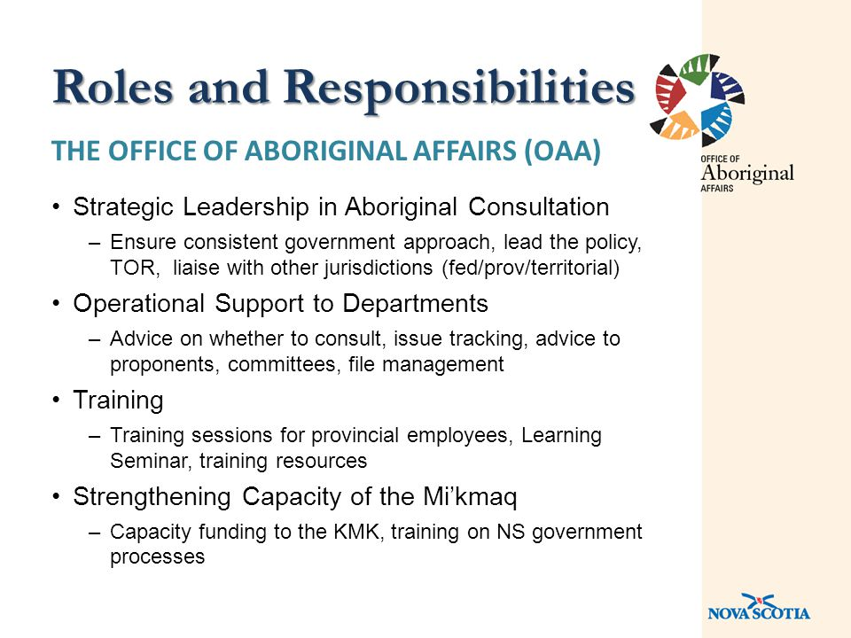 THE OFFICE OF ABORIGINAL AFFAIRS (OAA) Strategic Leadership in Aboriginal Consultation –Ensure consistent government approach, lead the policy, TOR, liaise with other jurisdictions (fed/prov/territorial) Operational Support to Departments –Advice on whether to consult, issue tracking, advice to proponents, committees, file management Training –Training sessions for provincial employees, Learning Seminar, training resources Strengthening Capacity of the Mi'kmaq –Capacity funding to the KMK, training on NS government processes Roles and Responsibilities