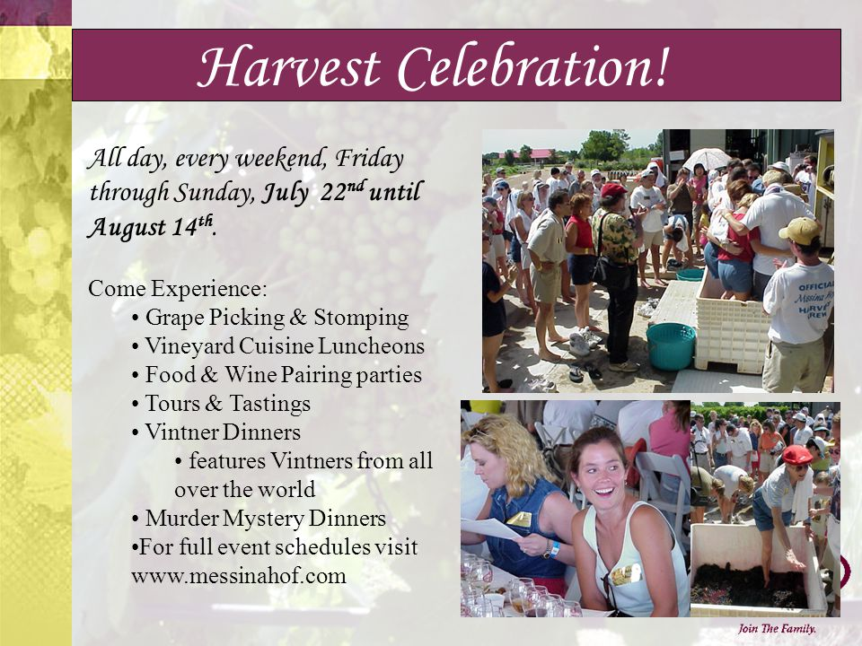 Harvest Celebration. All day, every weekend, Friday through Sunday, July 22 nd until August 14 th.