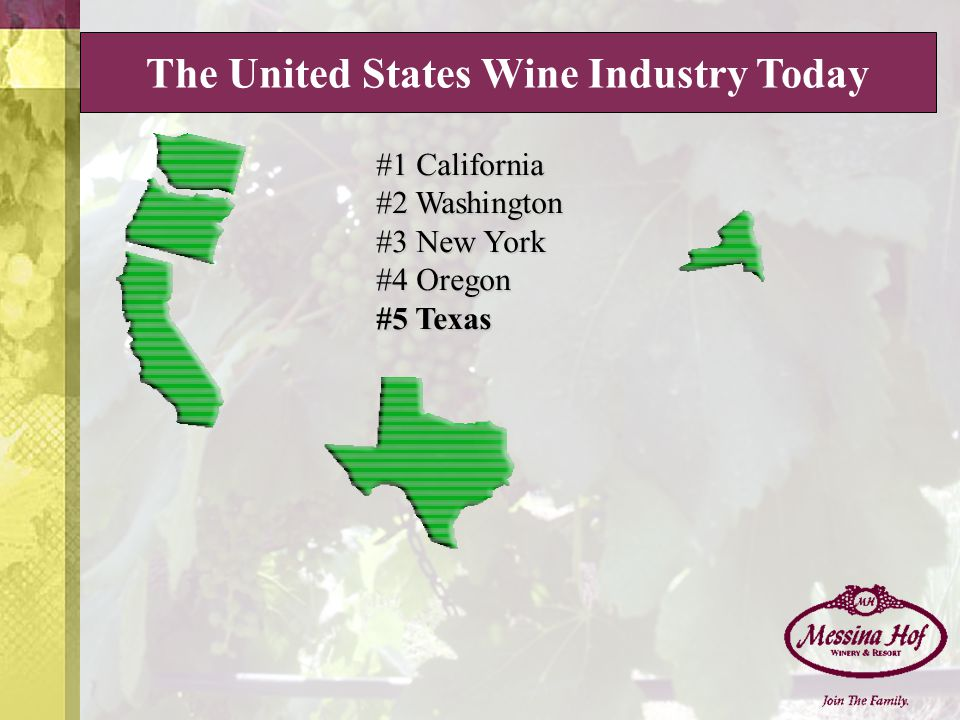 #1 California #2 Washington #3 New York #4 Oregon #5 Texas The United States Wine Industry Today