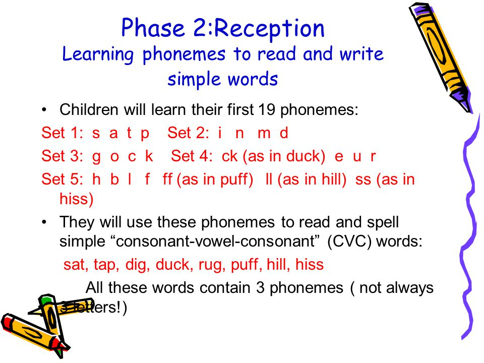 Phase 2:Reception Learning phonemes to read and write simple words Children will learn their first 19 phonemes: Set 1: s a t p Set 2: i n m d Set 3: g