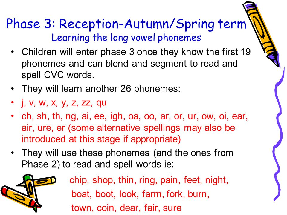 Phase 3: Reception-Autumn/Spring term Learning the long vowel phonemes Children will enter phase 3 once they know the first 19 phonemes and can blend