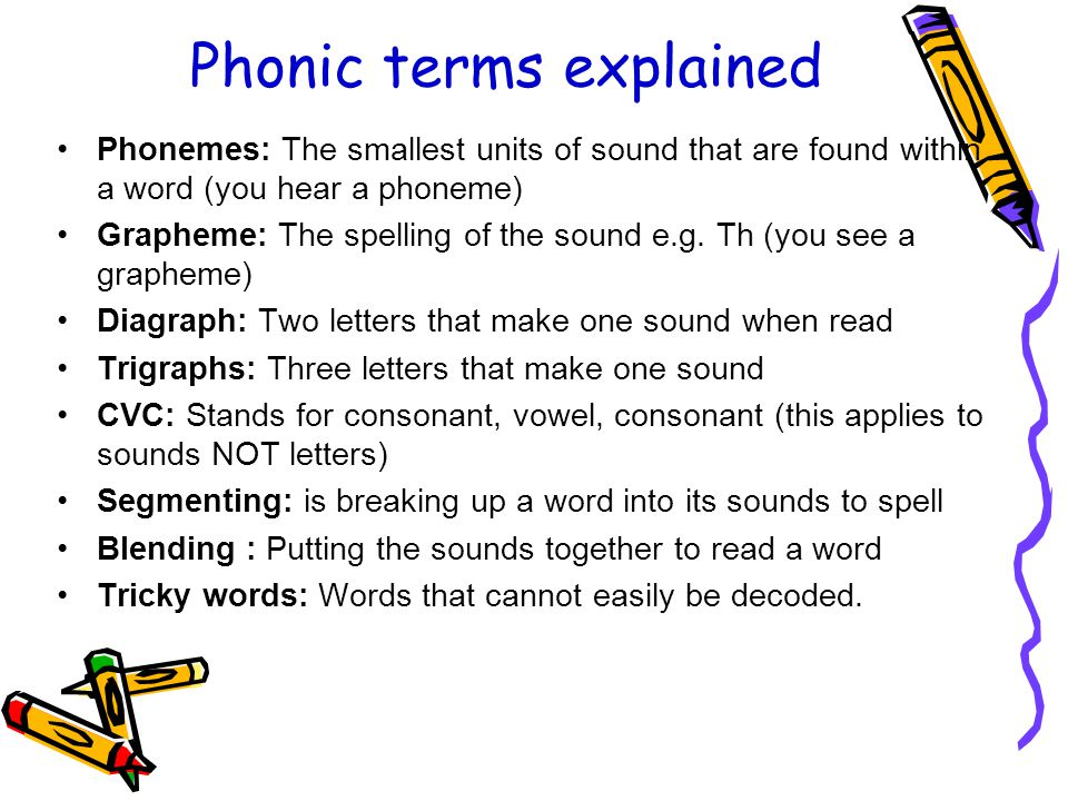 Phonic terms explained Phonemes: The smallest units of sound that are found within a word (you hear a phoneme) Grapheme: The spelling of the sound e.g