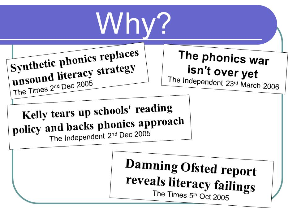 Phonics out of fashion Literacy strategy – searchlights model Not much phonics in teacher training Endless updates – very confusing 1 in 5 children leave primary school unable to read properly Clackmannanshire study Rose review – Letters and Sounds Phonics now top priority for Ofsted National picture