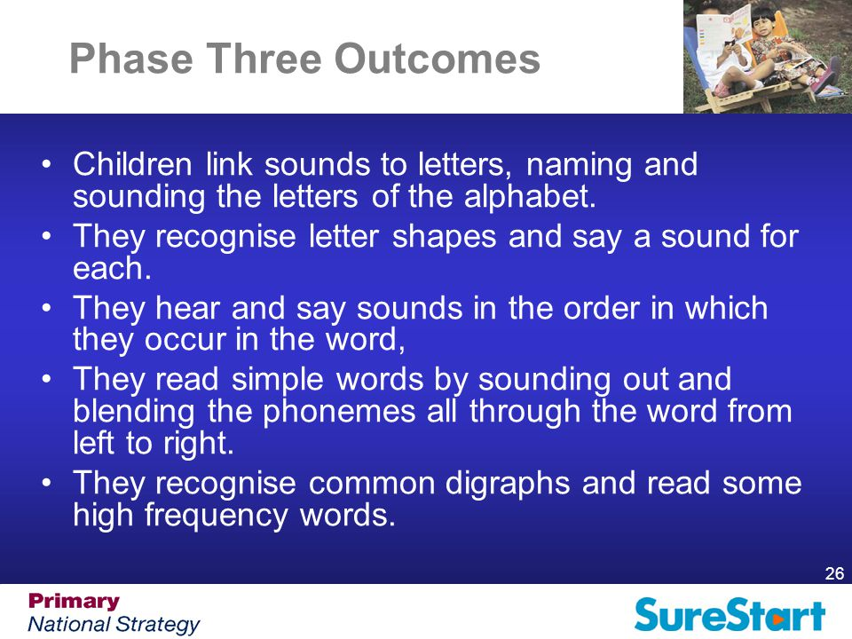26 Phase Three Outcomes Children link sounds to letters, naming and sounding the letters of the alphabet.