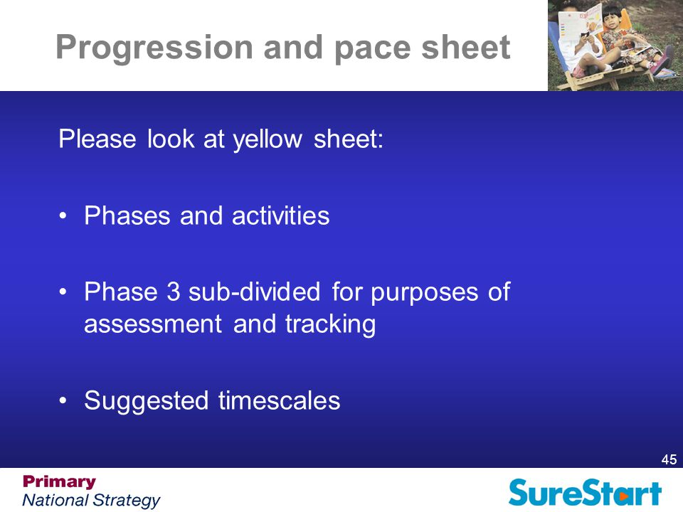 45 Progression and pace sheet Please look at yellow sheet: Phases and activities Phase 3 sub-divided for purposes of assessment and tracking Suggested timescales