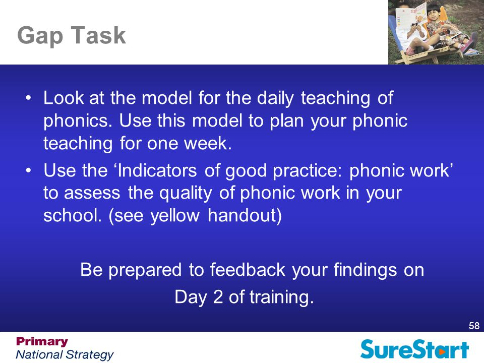 58 Gap Task Look at the model for the daily teaching of phonics.