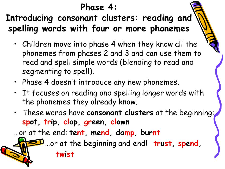 Phase 3: Learning the long vowel phonemes Children will enter phase 3 once they know the first 19 phonemes and can blend and segment to read and spell