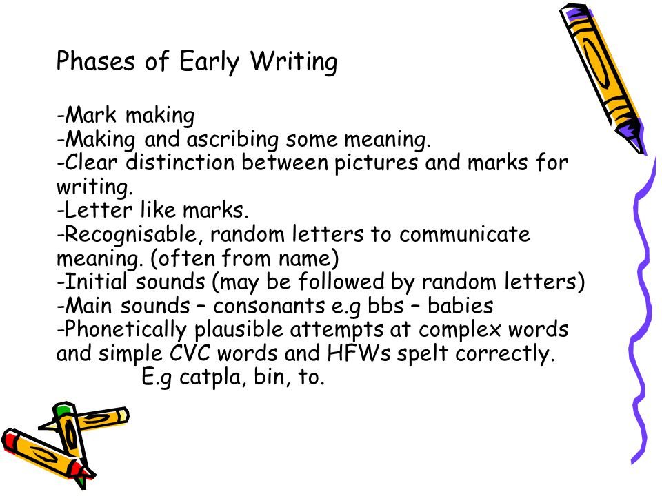 Supporting Early Writing Allow your child to do phonetical writing rather than copy writing – develops their independence as writers and provides the