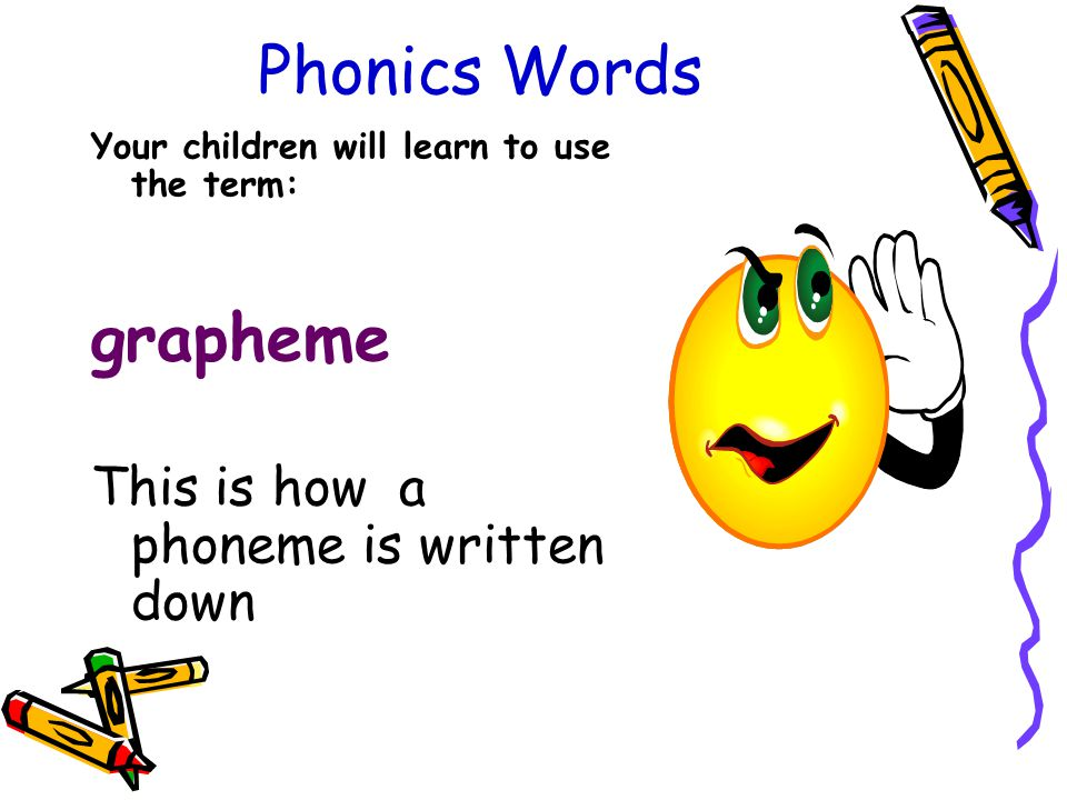 Phonics Words Your children will learn to use the term: grapheme This is how a phoneme is written down