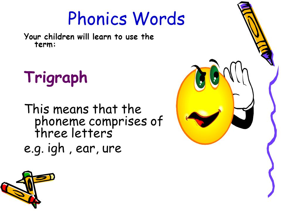 Phonics Words Your children will learn to use the term: Trigraph This means that the phoneme comprises of three letters e.g.