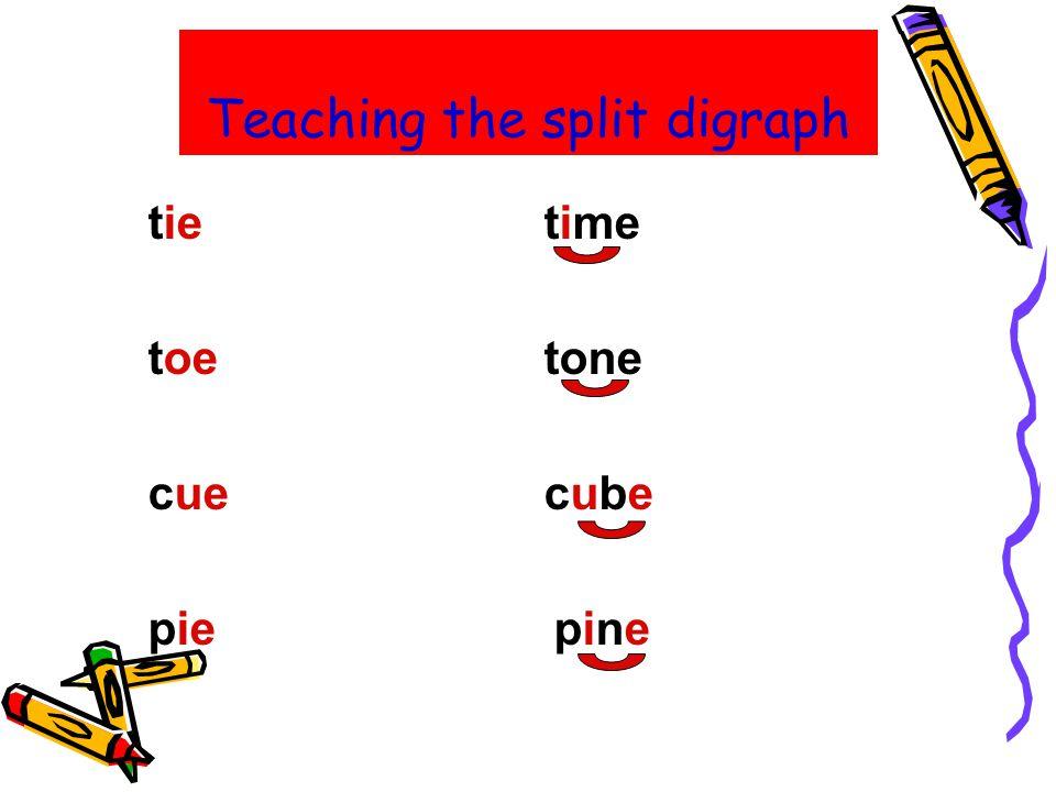 Teaching the split digraph tietime toetone cuecube pie pine