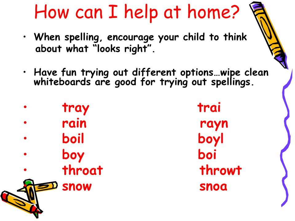 How can I help at home. When spelling, encourage your child to think about what looks right .