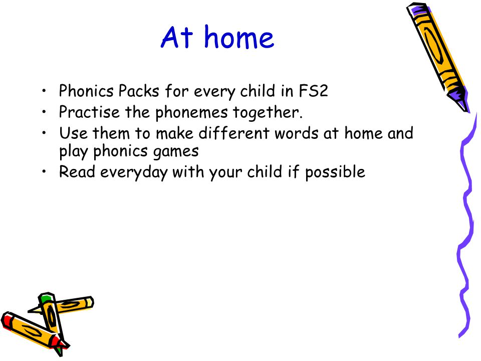 At home Phonics Packs for every child in FS2 Practise the phonemes together.