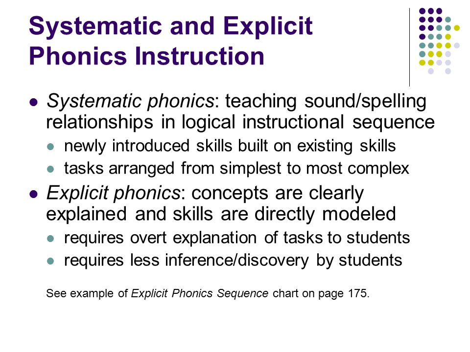 Systematic and Explicit Phonics Instruction Systematic phonics: teaching sound/spelling relationships in logical instructional sequence newly introduc