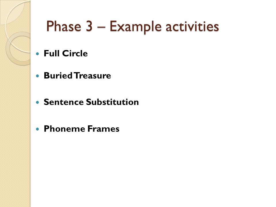 Phase 3 – Example activities Full Circle Buried Treasure Sentence Substitution Phoneme Frames